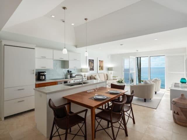 A kitchen and dining area next to a living area.