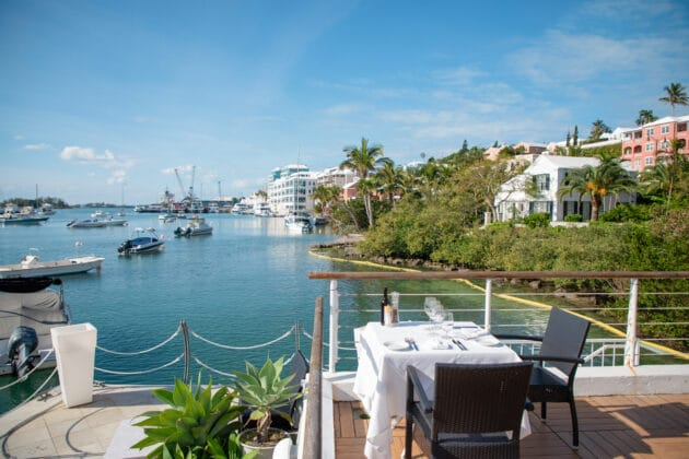 outdoor seating looking over the water at Harbourfront in bermuda