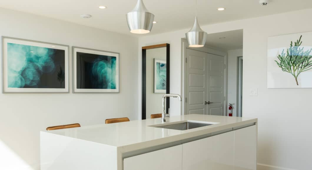 A kitchen island with a sink.
